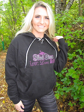Bling Purple Sled Diva Hockey Style Hoodie 3