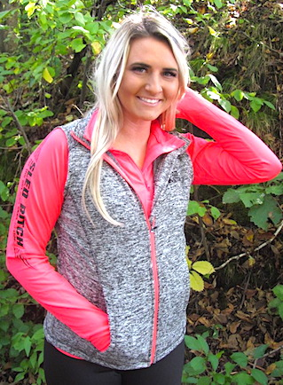 Ass Fast HOT CORAL Ladies 1/4 Zip W/ Black Design 5