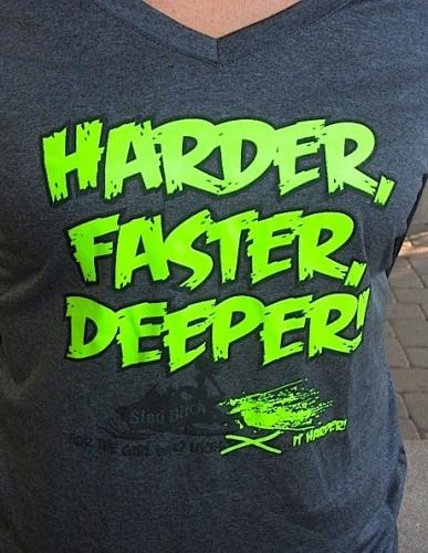 Harder FASTER, DEEPER Ladies V-Neck 2