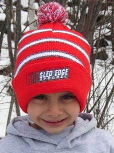 Stripped Sled Edge Youth Small Pom Beanie 5