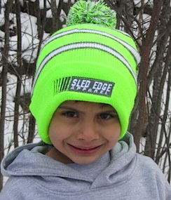 Stripped Sled Edge Youth Small Pom Beanie 7