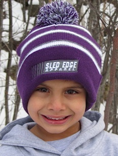 Stripped Sled Edge Youth Small Pom Beanie 6