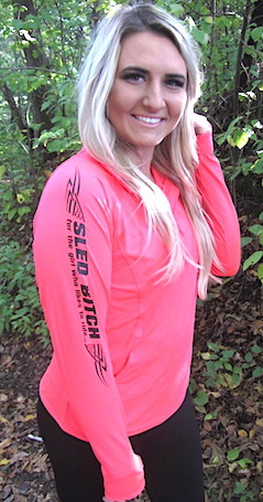 Ass Fast HOT CORAL Ladies 1/4 Zip W/ Black Design