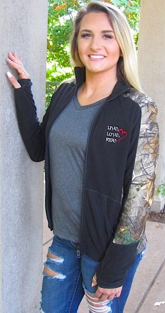 Black/Camoflauge Ladies Full-Zip Fleece