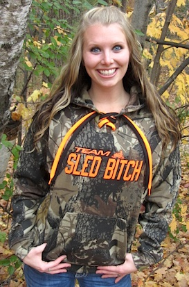 Blaze Orange TEAM Sled Bitch Camo Hoodie