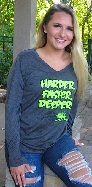 HARDER Faster, DEEPER Ladies V-Neck S - 4X