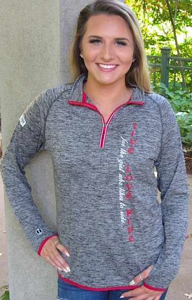 """Live Love RIDE""  Carbon/Red 1/4 Zip"