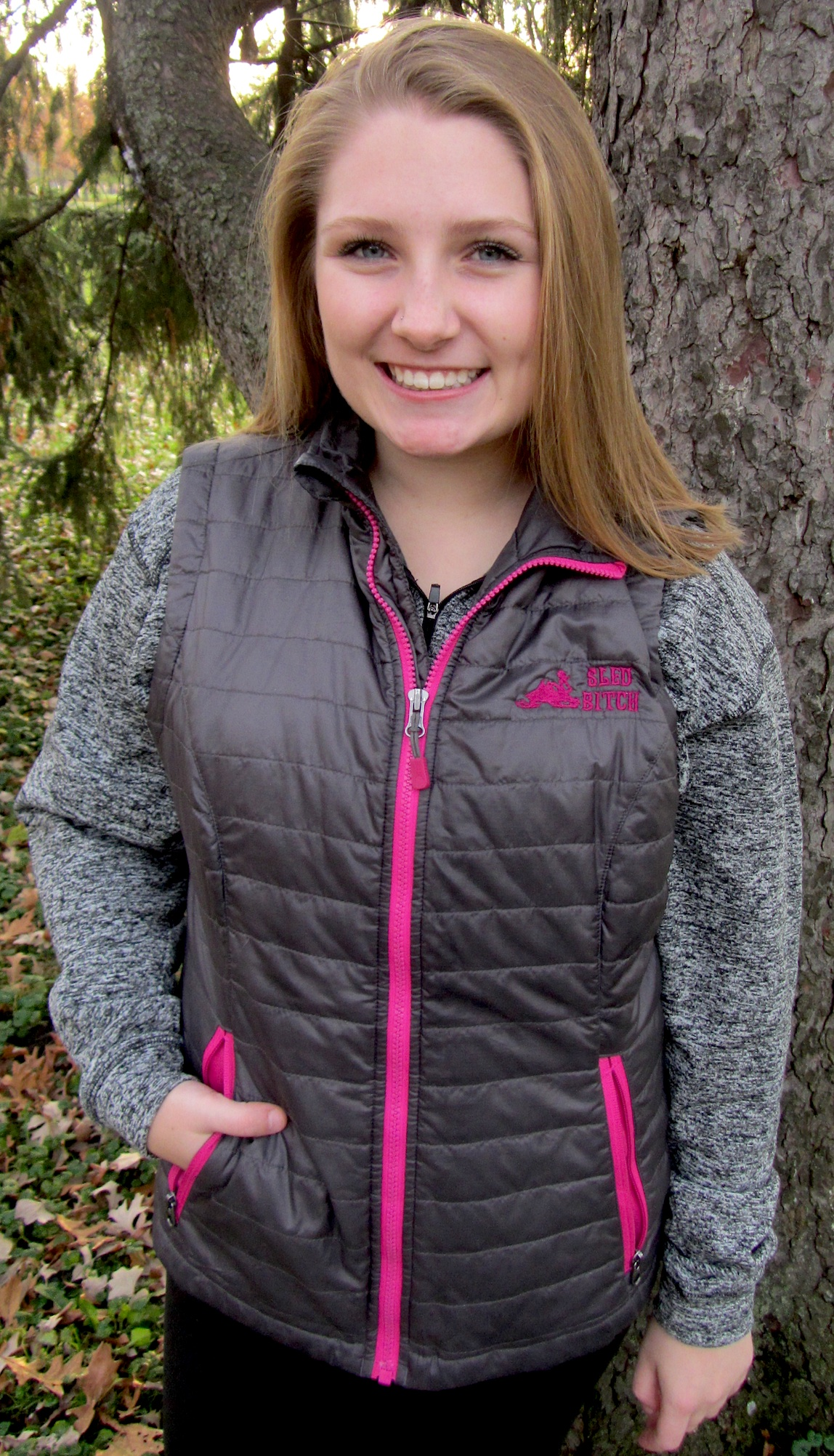 Quilted Women's Vest - Charcoal/Pink Sled Bitch