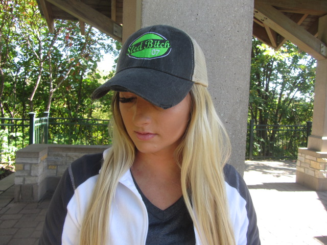 Tan And/Charcoal Sled Bitch Hat With Neon Green Patch