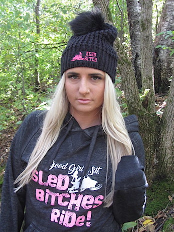 Black/Hot Pink Sled Bitch Logo Slouchy Beanie