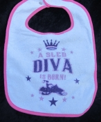 Infant Baby Bib - A sled Diva Is BORN!