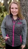 Quilted Women's Radius Vest - Charcoal/Pink Sled Bitch