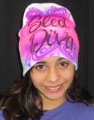 Air Brushed Whimiscal Sled Diva Beanie