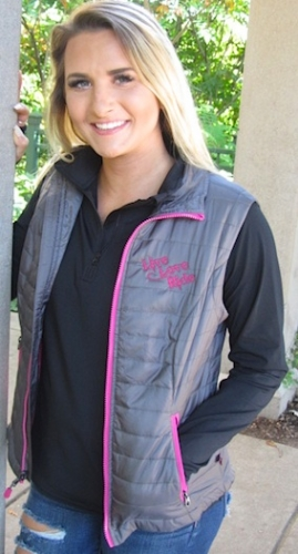 Grey and Pink Puffy LIVE LOVE RIDE Vest 3